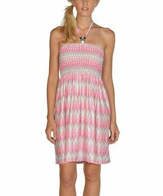 Hot Pink Stripe Scoop Back Cap-Sleeve Dress