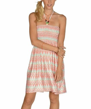 Orange & Mint Zigzag Halter Dress
