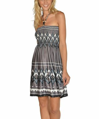 Black & White Abstract Halter Dress