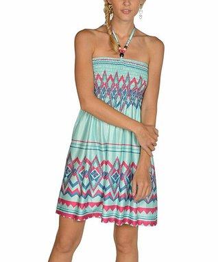 Mint & Fuchsia Abstract Halter Dress