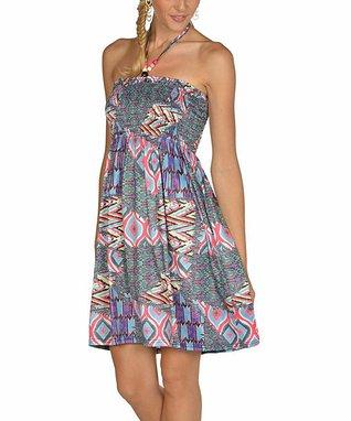 Blue & Fuchsia Patchwork Halter Dress