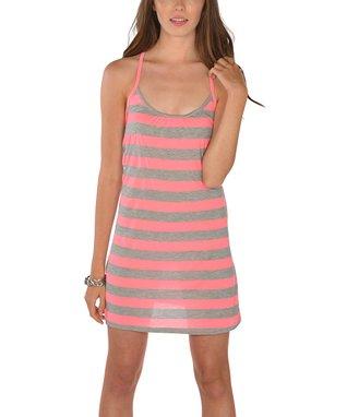 Hot Pink Tie-Dye Fringe Sidetail Dress