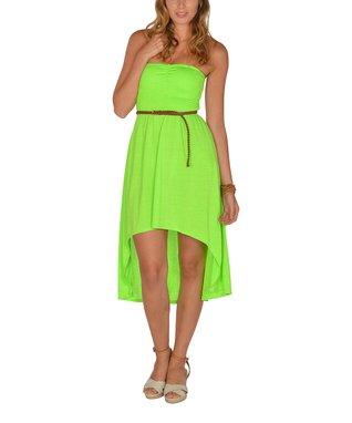 Neon Green Shirred Strapless Hi-Low Dress