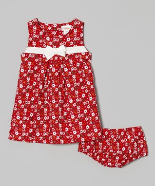 Bloom & Petal Red & White Stripe Lap Neck Dress & Diaper Cover - Infant