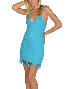 Blue Fringe Cover-Up Dress