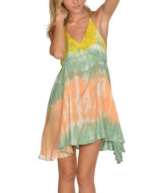 Green Tie-Dye Swing V-Neck Dress