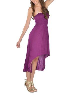 Purple Shirred Strapless Hi-Low Dress