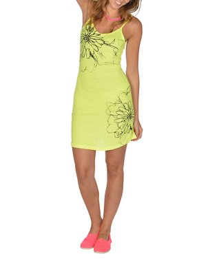 Neon Yellow Floral Dress