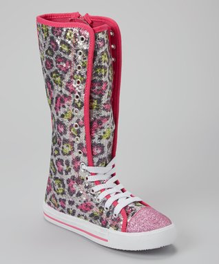 Blue Suede Shoes Fuchsia Leopard Sequin Sparkle Knee-High Sneaker