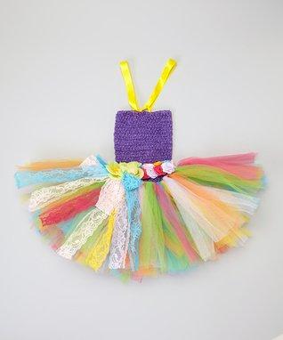 Purple & Green Tutu Dress & Flower Sash - Toddler