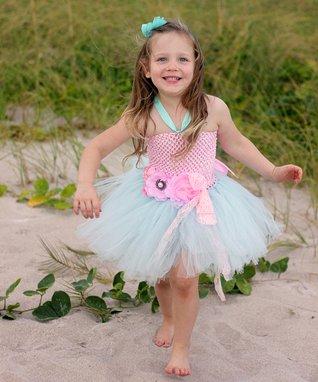 Cotton Candy Couture Tutu Dress & Flower Sash - Toddler