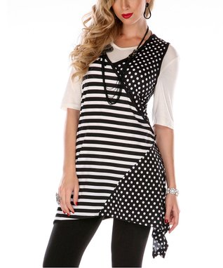Black & White Stripe Dot Sleeveless Tunic