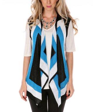 Black & Turquoise Open Vest