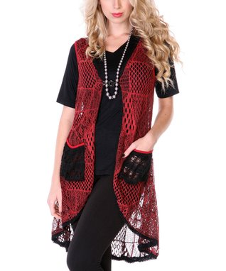 Red Crocheted Duster