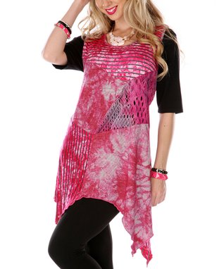 Pink Patchwork Sleeveless Tunic
