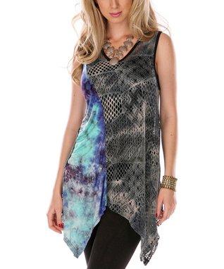 Black & Turquoise Sidetail Sleeveless Tunic