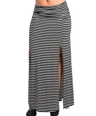 Black & White Stripe Slit Maxi Skirt - Plus