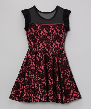 Black & Pink Lace Skater Dress - Girls