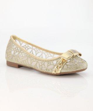 Gold Bow Dana Ballet Flat