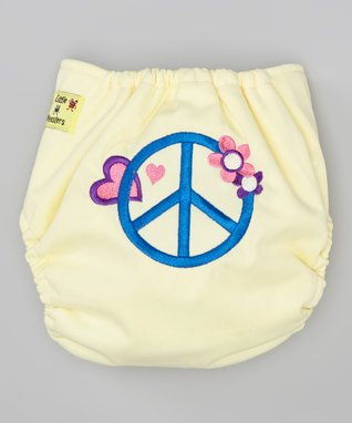 Little Monsters Yellow Peace Pocket Diaper