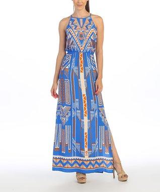 Blue Tropical Tribal Keyhole Maxi Dress