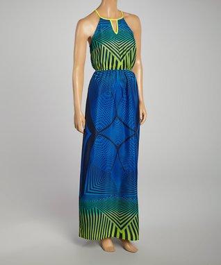 White Tropical Tribal Keyhole Maxi Dress