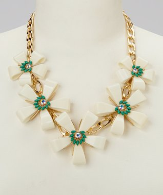 Gold & Ivory Floral Chain-Link Bib Necklace