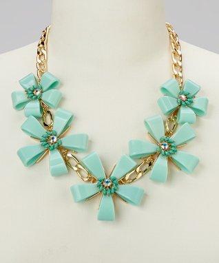 Gold & Mint Floral Chain-Link Bib Necklace