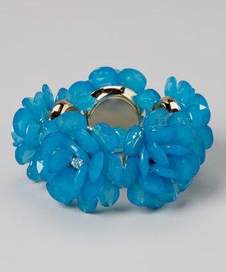 Blue Faceted Floral Stretch Bracelet