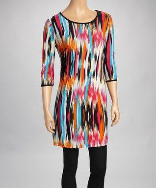 Pink & Orange Blur Tunic Dress - Women & Plus