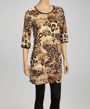 Tan Leopard Swirl Tunic Dress - Women & Plus