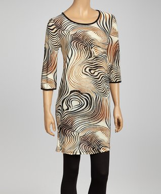 Black & White Houndstooth Wrap Dress - Plus