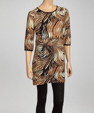 Tan Tiger Swirl Tunic Dress - Women & Plus