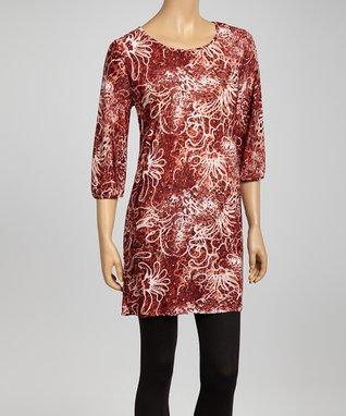 Burgundy Leopard Floral Tunic Dress - Women & Plus