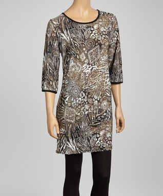 Brown Sparkle Stencil Tunic Dress - Women & Plus