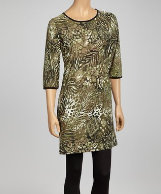 Olive Sparkle Stencil Tunic Dress - Women & Plus