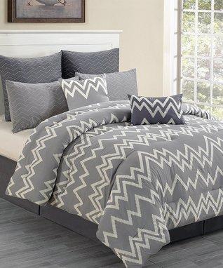 Gray Devin Flocking Overfilled Comforter Set