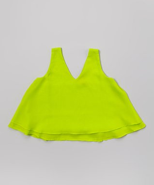 Apollo Lime Crop Tank - Girls