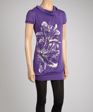 Miss Sportswear Black Floral Empire-Waist Tunic - Women