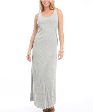 Gray & Ivory Lace Maxi Dress