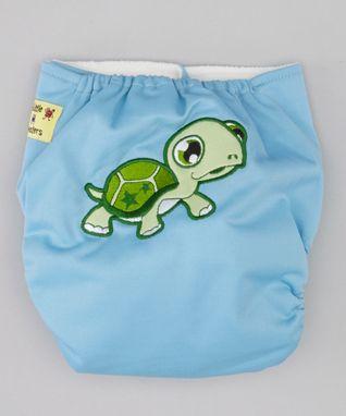 Little Monsters Blue Turtle Pocket Diaper