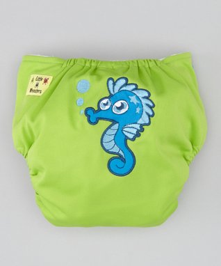 Little Monsters Green Seahorse Pocket Diaper
