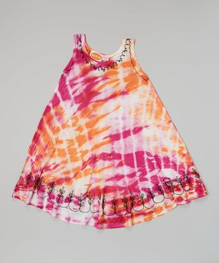 Fuchsia & Orange Embroidered Tie-Dye Dress - Girls