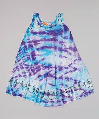 Purple & Turquoise Embroidered Tie-Dye Dress - Girls