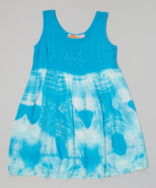 Turquoise Tie-Dye Ruffle Trim Dress - Girls