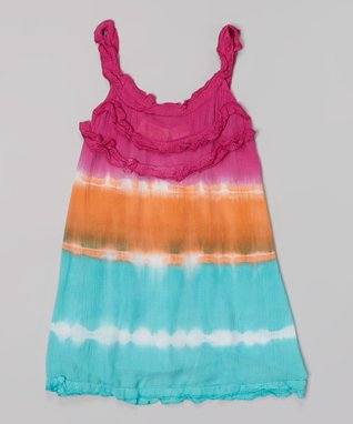 Fuchsia & Coral Tie-Dye Ruffle Tank Dress - Toddler & Girls