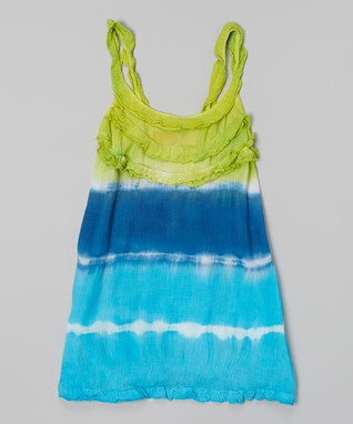 Lime & Royal Tie-Dye Ruffle Tank Dress - Toddler & Girls