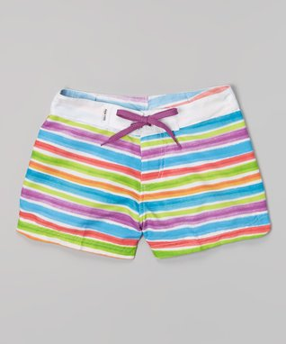 White & Purple Stripe Surf Shorts - Girls