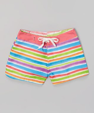 Coral & White Stripe Surf Shorts - Girls