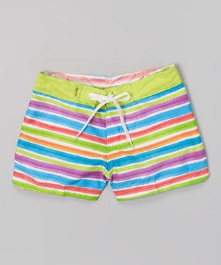 Lime Green & White Surf Shorts - Girls